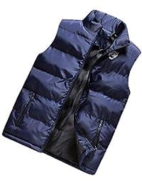 Mymyguoe Weste Herren Jacke Freizeitjacke Mantel Herbst Winter Casual  Stehkragen Reine Farbe Reißverschluss Weste Top Steppweste… ec6cd8a588