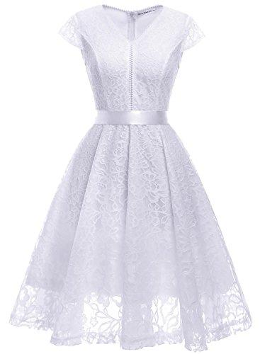 MuaDress Fashion Vestido Corto De Fiesta Elegante Mujer De Encaje Escote en V Estampado Flor Vestido Boda Cóctel Blanco M