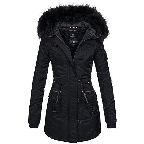 Marikoo warme Damen Winter Jacke Mantel Parka Winterjacke Teddyfell B388