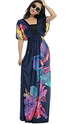 Vogstyle Women's Printing Beach Empire Waist Plus Size Maxi Sundress