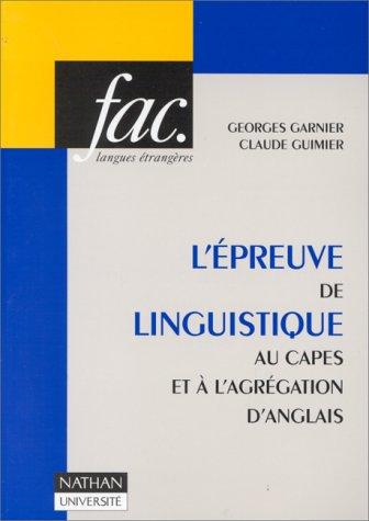 L'épreuve de linguistique au CAPES ...