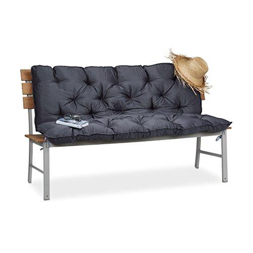 Relaxdays Gartenbank Auflage, Bankauflage mit Rückenlehne, Sitzauflage und Rückenpolster Rückenteil für Bank, Grau, 62,5x55x13,5 cm