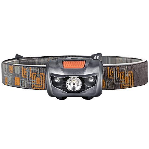 Linterna Frontal, Antorcha Potente 5 Iluminación Modos Linterna LED con 3 * 18650 Batería para Caza Camping Senderismo