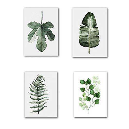 DierCosy Grün-Blatt-Wand-Dekor Painting Kunstdruck Set von 4 Stück Verschiedene Blätter Gemälde für Home Office Frameless Malerei Dekoration Poster 20x30cm -