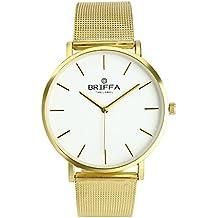 Darringls_Reloj BRIFFA,Moda Relojes Pareja Reloj de Pulsera de Cuarzo analógico de Acero Inoxidable con