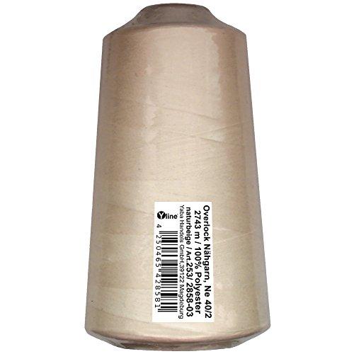 1 Stück Spule Overlock - Nähgarn, natur - beige, a. 2743 m, NE 40/2, 100% Polyester, Nähfaden, Nähmaschinen Garn, 2858-03