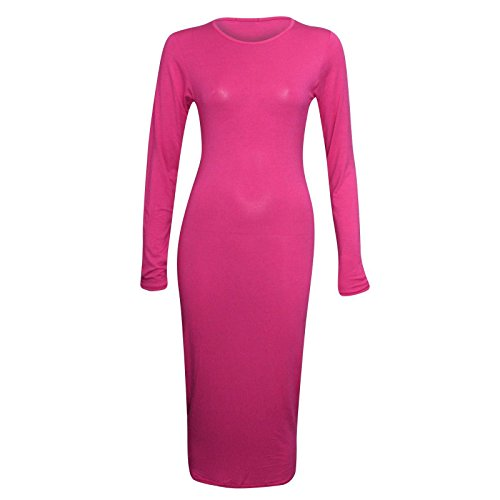 Janisramone Mesdames manches longues plaine bodycon jersey maxi robe extensible Cerise