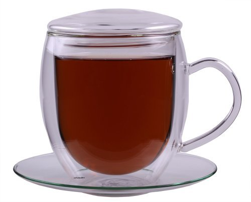 Feelino XXL 400ml doppelwandige Tasse inkl. GLASDECKEL