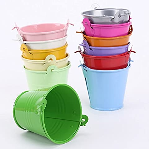 12pcs Colorful Mini Metal Bucket Candy Favours Box Pail Wedding