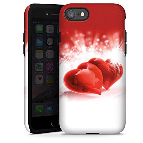 Apple iPhone X Silikon Hülle Case Schutzhülle Herz Liebe Rot Tough Case glänzend