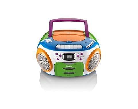 Lenco SCR-970 MP3 Kids CD-Player (MP3, LCD-Display, FM-Radio) mit Kassettenplayer Bunt