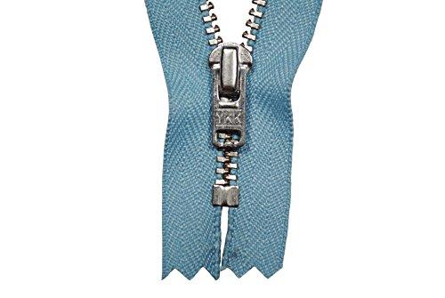 Reißverschluss pastellblau 12 cm für Hosen Hosenreißverschluss 4 mm Metallzähne silberfarben (12-reißverschluss-blau)