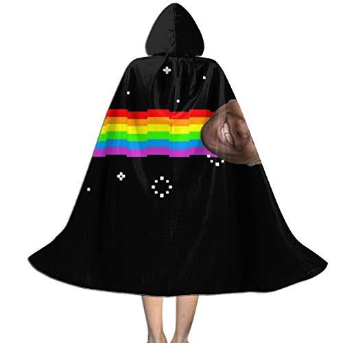 NUJSHF Unisex Kinder Kapuzenumhang mit Kapuze, Motiv Ainsley Harriott Nyan Cat Meme, Halloween, Party, Dekoration, Rolle, Cosplay, Kostüme (Keine Kostüm Meme)