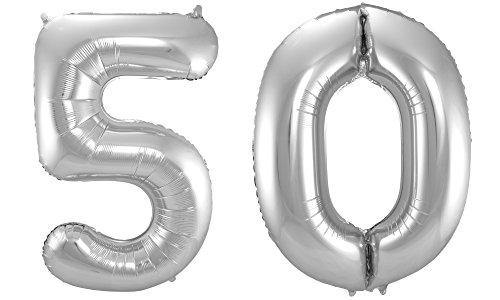 Kostüm Bis Luftballons - Folat 800426 - Folienballon - Zahl 50 - silber - ca. 86 cm hoch
