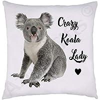 Crazy Koala Bear Lady Cushion - Super Soft White Plush, 38 x 38cm