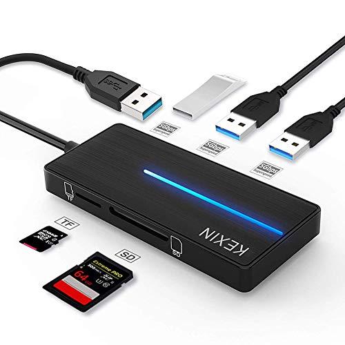 KEXIN Hub USB 3.0 con 3 Puertos USB 3.0 y Lector de Tarjetas SD y TF, Ultra Fino Hub USB [5 en 1] Compatible con Notebook / Laptop / Ultrabook / Tabletas / Macbook
