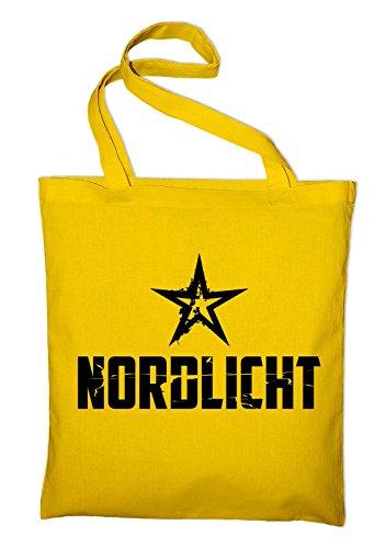 Nordlicht Hamburg Bremen Flensburg Jutebeutel, Beutel, Stoffbeutel, Baumwolltasche, gelb Gelb