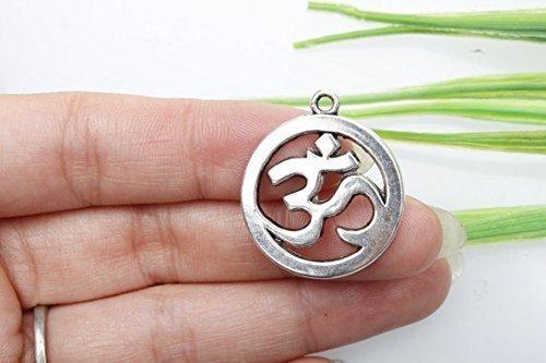 3eigenen Charme, Antike Tibetische Silber Yoga Symbole Charms Anhänger, Om Charms 19x 23mm