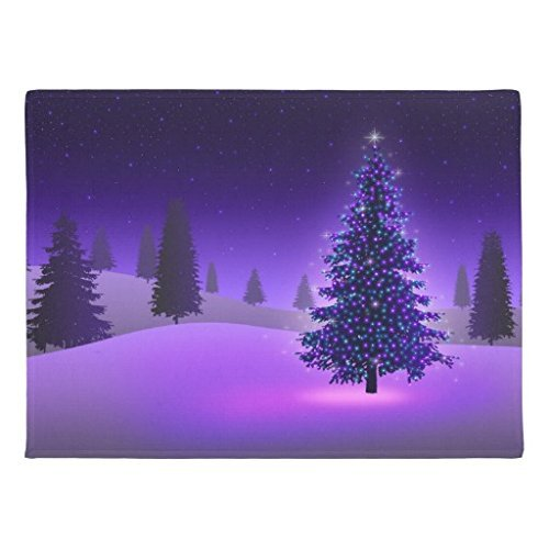 ghkfgkfgk Genertic Purple Christmas Tree Doormat 23.6