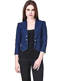 G.S.A ENTERPRISES Women Solid Denim Full Sleeve 6-Button Without Collor Dark Blue Shrug