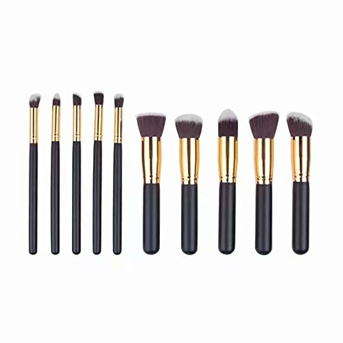 Kit De Pinceau Maquillage Professionnel 10PCS Noir Eyebrow Shadow Blush Fond De Teint Anti-Cerne