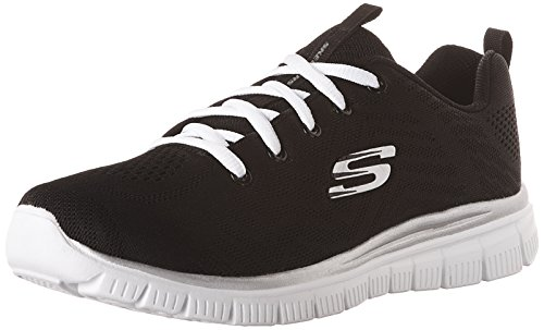 Skechers Graceful-Get Connected, Zapatillas para Mujer, Negro (Black/White), 36 EU