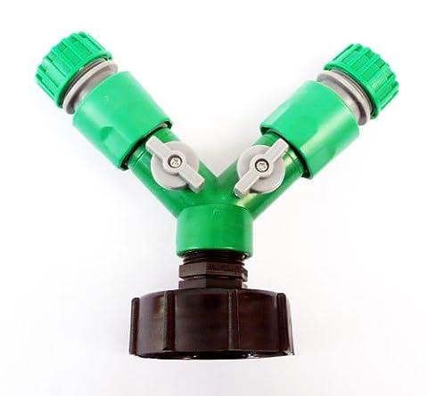 """IBC Adaptateur (2–S60 60 mm vers double 1/2 """"13 mm)-Snap ON Push Fit flexible Fiche C/w Robinet ON/OFF et 2 connecteurs de tuyau femelle"""