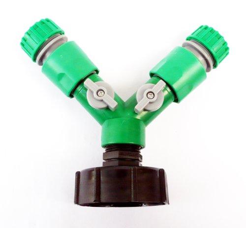 inscale IBC Adaptateur (5,1 cm - S60-60 mm) à double 1/5,1 cm (13 mm) à clipser Push Fit connecteur pour flexible...... C/W robinets on/off et 2 x connecteurs de tuyau femelle