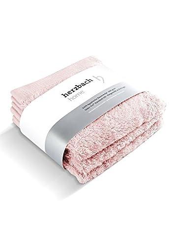 herzbach home Luxus Handtuch Gästetuch 3er-Set Premium Qualität aus 100% ägyptischer Baumwolle 30 x 50 cm 600 g/m² extra weich (Rosa)