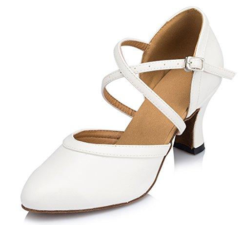 TDA , Bride de cheville femme 7cm Heel White