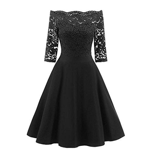 ❤️• •❤️ LUCKYCAT Räumungsverkauf Damen Spitzenkleid für eine Neue Vintage Spitze Patchwork Schulterfrei Cocktail Party Retro Schaukel Kleid Swing Kleid Partykleid Cocktailkleid (Schwarz, EU 36--M) (Damen Schwarz Kleid 14)