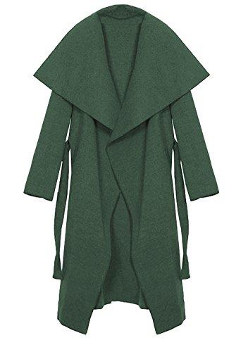 Kendindza Damen Mantel Trenchcoat mit Gürtel Onesize Lang und Kurz (One Size, Khaki Lang) (Grüner Mantel Für Frauen)