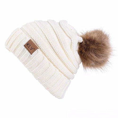 Marque Quistal Femmes Hommes Hiver Chaud Fourrue Tricot Bonnet Tricot Pompon Bonnet Baggy Crochet Ski Chapeau (taille unique, blanc)