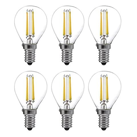 Pack of 6 LED Filament Healthy Edison Light Bulb - Dimmable Daylight 40W Equivalent UL Listed E14 Base 6000K YT-G45-6