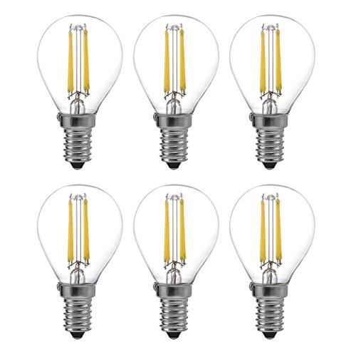 6-Pack LED FILAMENTO sano Edison - Lampadina dimmerabile bianco caldo 4 W UL Listed attacco E14 6000 K yt-g45 - 6