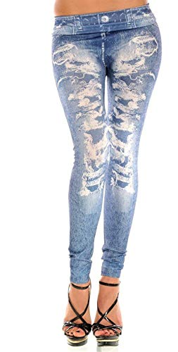 Hx fashion leggings per donna jeans effetto stampa jeans distrutti stretch chic jeans aderenti per esterno casual slim fit ragazza (color : blau, size : one size)