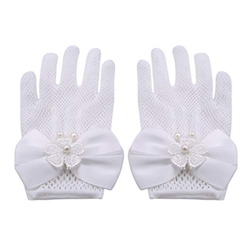 JOOFFF Kinder Schleife Kleid Handschuhe Blumen Mädchen Handschuhe Mesh Schleife Kunstperlen Dekoration Handschuhe für Hochzeit Party