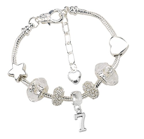 Girls 7th Birthday Sparkly Charm Bracelet with Gift Box and Card Kids Jewellery
