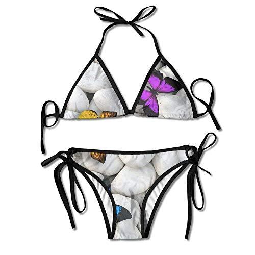 Bikini Swimwear Colorful Butterflies White Stones Women's Sexy Bikini Set Swimsuit Bathing Suit Triangle Swimwear Womens Butterfly Twists