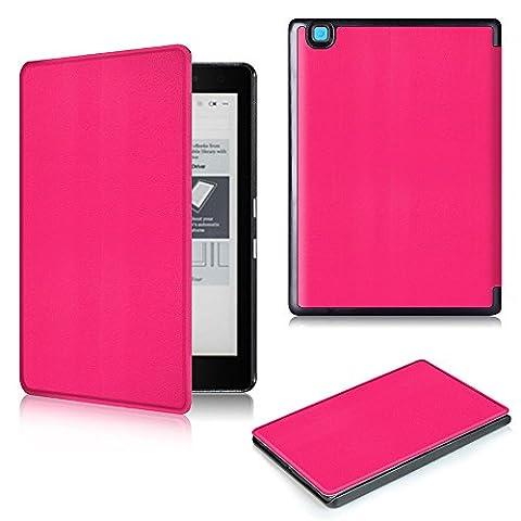 Housse pour NEW KOBO Arua Edition 2 eReader, Malloom couchage automatique magnétique + Film de protection écran HD + stylo tactile  (Rose vif)