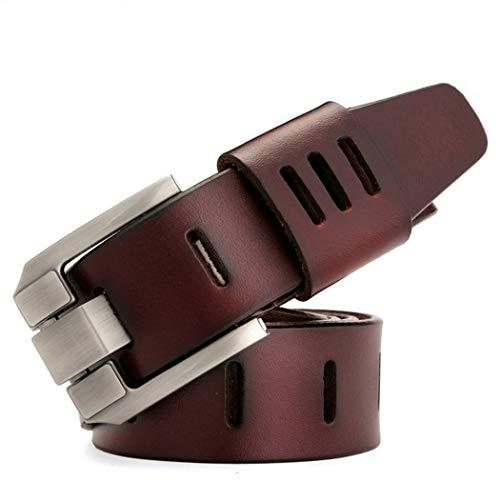 Aimado Cinturon Hombre Cuero Negro Marrón Jeans Piel Cinturón para Hombres Clásico Negocios Casual Traje Hebilla Cinturones