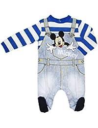 35cc571930 Disney Tutina Neonato Mickey Mouse in Cotone, Effetto Salopette Jeans -  Art. 46352