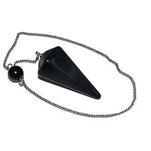 Pendel Natursteinkegel zur Weissagung, Wünschelrute, Heilung und Hellsichtigkeit (Schwarzer Obsidian)