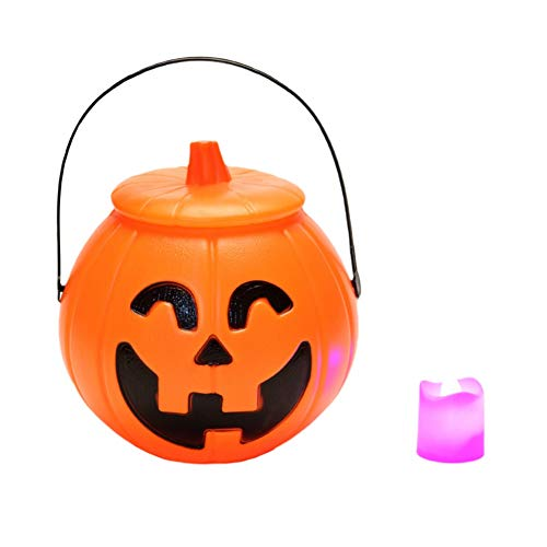 Blaward Halloween Kürbis Cluster Dekorative Portable Requisiten Ghost Festival Papier Laternen Kinder Kindergarten Bar Einkaufszentren, Eimer mit Abdeckung Kinder Candy Cans