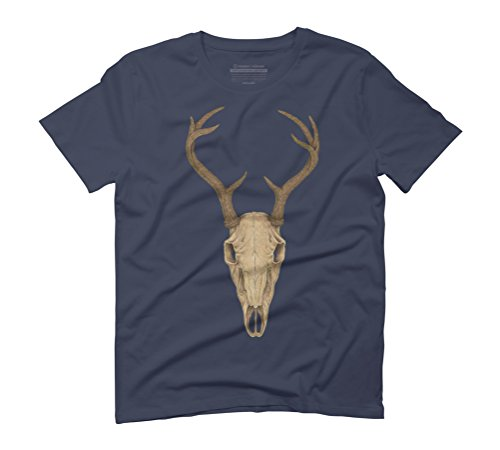 Deer Skull Men's Graphic T-Shirt - Design By Humans Navy