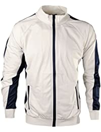 Men's High Neck Contrast Panel Full Zip Sweat Jacket Gym Track Top Size