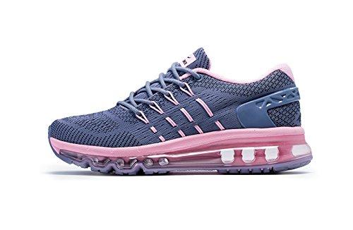Onemix Damen Air Laufschuhe Sportschuhe mit Luftpolster Turnschuhe Leichte Schuhe Dunkelgrau / rosa Größe 38 Warehouse Deals Schuhe Frauen