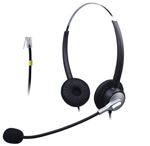 vanstalk Telefon RJ Headset, Callcenter Headsets mit Noise Cancelling Mikrofon für Yealink Panasonic Grandstream Cisco Cisco SNOM AltiGen Cortelco fanvil Binaural VT20SJ4 720 Headset