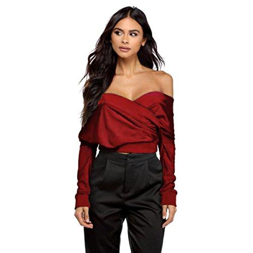 TWBB Damen Sommer V-Ausschnitt trägerlos aus der Schulter langärmlig hohl Mode Hemd einfarbig personalisiert T-Shirt (M, Wein)