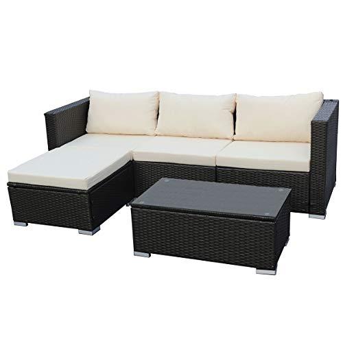 SVITA Queens Poly Rattan Sitzgruppe Couch-Set Ecksofa Sofa-Garnitur Gartenmöbel Lounge Grau, Schwarz oder Braun (Schwarz)